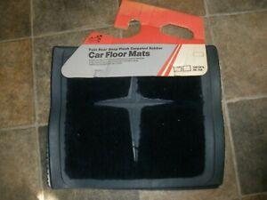 New Nos Vtg Sears Twin Rear Deep Plush Carpeted Rubber Car Floor Mats Blue