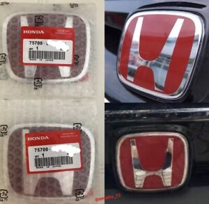 2x Honda Red H Emblem In Red Jdm Style Civic Type R Front Grill Badge Emblem