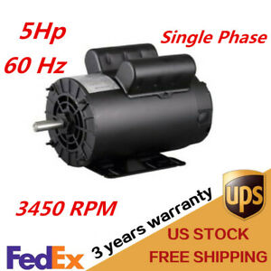 5hp Air Compressor Single Phase 5 8 Keyed Shaft 60 Hz Base mounted 3450 Rpm New