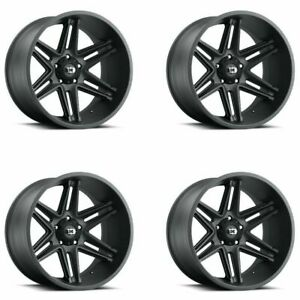 Set 4 20 Vision 363 Razor 20x10 Satin Black 6x135 Lifted Truck Wheels 25mm