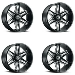 Set 4 20 Vision 363 Razor 20x10 Black Milled Spoke 5x150 Truck Wheels 25mm