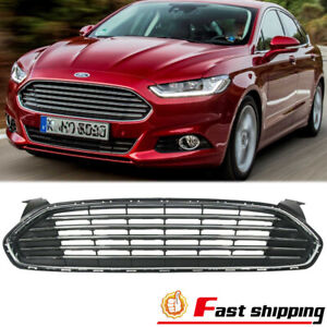 Front Bumper Upper Grill Chrome Radiator Grille Fit 2013 2016 Ford Fusion mondeo