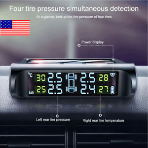 Wireless Solar Car Tpms Lcd Tire Pressure Monitor System 4pc External Sensor U
