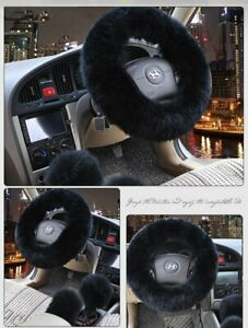Black Australia Wool Steering Wheel Cover 3pc Fuzzy Auto Car Cover Universal Us