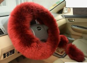 Red Wine Australia Wool Fuzzy Auto Car Steering Wheel Cover Universal For Winter