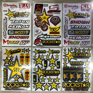 New Rockstar Energy Motocross Atv Racing Graphic Stickers decals Sheet