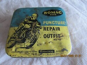 50s 60s Vintage Tin Romac Motorcycle Puncture Tube Repair Kit W Contents Cool