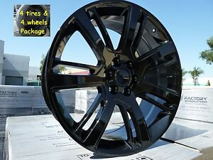 Fits 24 Escalade Gloss Black All Season Tires Wheels Rims For Cadillac Ext