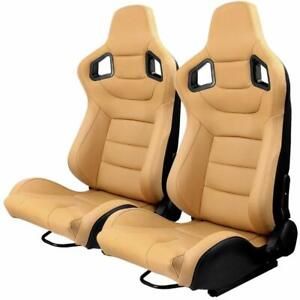 Left Right Reclinable Tan Brown Racing Seats With 2 Sliders Bucket Leather Seats