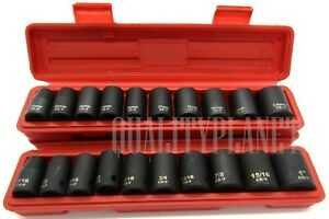 20pc 1 2 Drive Shallow Impact Socket Set Cr V Sockets Metric Sae W Case