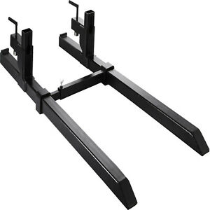 Pallet Forks 4000lbs Capacity Tractor Forkswith Adjustable Stabilizer Bar