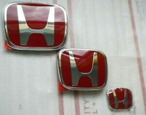06 15 4dr Sedan Jdm Red H Front Rear Steering Wheel Emblem