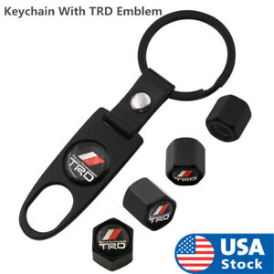 Black Car Wheel Tyre Tire Valves Dust Stems Air Caps Keychain With Trd Emblem