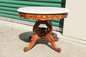 Charming Oval Walnut Victorian Marble Top Coffee Table With Fancy Base Ca 1870