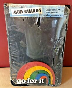 Vintage 1970s 80s Plasticolor Mud Guards Flaps Go For It Rainbow Hipster Van