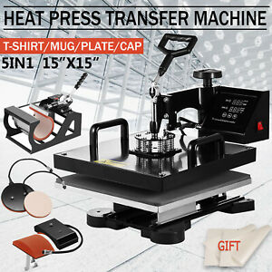 5in1 15 x15 Combo T shirt Heat Press Transfer Machine Sublimation Swing Away