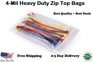 Heavy Duty 4 Mil Clear Zip Lock Bags Reclosable Top Poly Plastic Jewelry 4mil