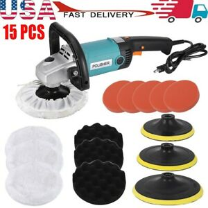 1600w Electric Car Polisher Buffer Sander Waxer Kit Variable 6 speed 7 W Pads