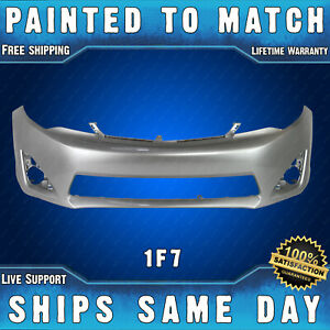 New Painted 1f7 Silver Front Bumper Cover Fascia For 2012 2014 Toyota Camry