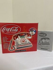 NEW COCA COLA LIGHT UP STAINED GLASS TELEPHONE CORDED PUSH BUTTON GLOWS VINTAGE