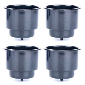 4pcs Black Recessed Plastic Cup Drink Can Holder With Drain For Boat Truck Car