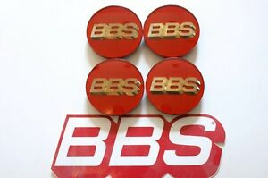 4 Real Bbs Red Gold 3d Logo 3 Tab 70mm Center Caps 56 24 099 Or 56 24 073