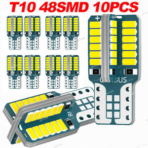 10pcs White 48 Smd Cob Led T10 13w 12v Car Interior Panel Lights Dome Bulb 3014