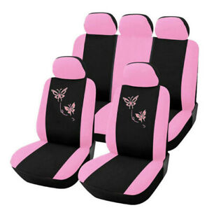 9 Pcs Universal Pink Girl Auto Car Seat Covers Polyester Cushion Suv Protectors