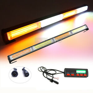 72w Cob Led Amber White Emergency Traffic Advisor Flash Strobe Light Bar Warning