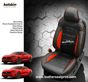 Katzkin Leather Seat Covers 15 20 Ford Mustang Coupe Vert Suede Black Salsa Tek