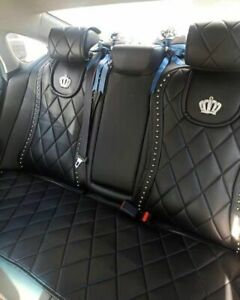 Front Car Seat Cover New Covers Universal Black Crystal Crown Accessories