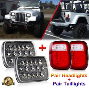 7x6 Led Headlights Hi Lo Beam Tail Reverse Lights For Jeep Wrangler Yj 87 95