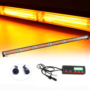 35 Cob Led Flash Traffic Advisor Emergency Warning Strobe Light Bar Amber 108w