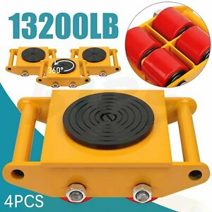 4pcs 6t Dolly Skate Machinery Roller Industrial Mover Machine Cargo Trolley