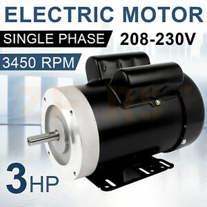 General Electric Motor 3hp Single Phase 3450 Rpm 56c Frame 208 230 Volt Tefc