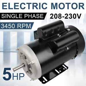 Farm Electric Motor 5 Hp 56 Frame 3450 Rpm Single Phase 60 Hz 208 230 Volt Tefc