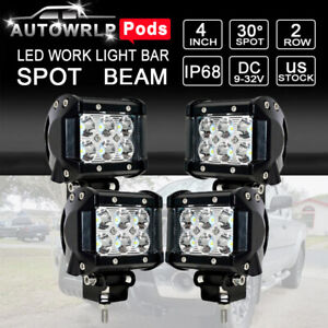 4x 4 Inch Led Work Light Bar Spot Offroad Truck Suv Atv Driving Fog Pods Lamps