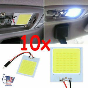 10pcs 48 Smd Cob Led T10 4w 12v Car Interior Panel Lights Dome Bulb White