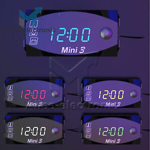 3 In1 Led Electronic Digital Clock Thermometer Voltmeter For 12v Motorcycle B2ae