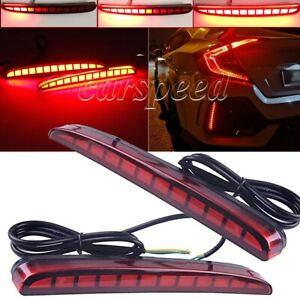 For Honda Civic Hatchback Led Brake Light Rear Bumper Reflector Driving Fog Lamp
