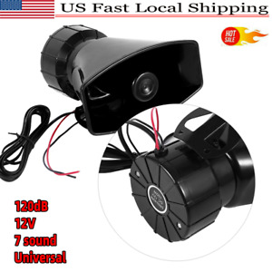 Car Warning Alarm Siren Horn Police Fire Loud Speaker Pa Mic System 7sound Tone