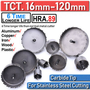 16 120mm Tct Carbide Hole Saw Metal Cutter Stainless Steel Hss Wood Alloy Tools