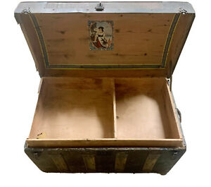 Antique 1800s Steamer Trunk Vintage Humpback Stagecoach Chest Tray 18 X 28 X 16