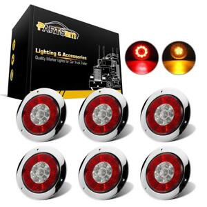 6x 4 Round Halo Red amber Led Stop Turn Tail Lights Brake Light W reflector
