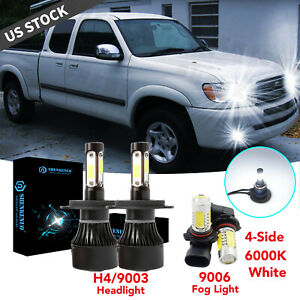 For Toyota Tundra 2000 2006 Combo Led Bulbs Kit Headlight Foglight White Cob 4x