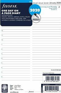 Filofax One Day On A Page Diary C68515 20 Refill A5 2020