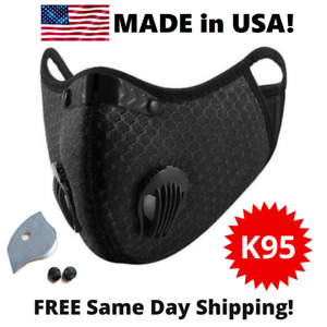 Usa Reusable Cycling Face Mask With Active Carbon Filter Breathing Valves Unisex