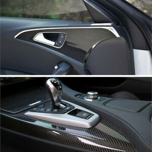 Parts Accessories Car Interior Panel Black Carbon Fiber Vinyl Wrap Stickers 7d