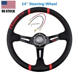 14 Deep Dish Drifting Sport Steering Wheel Leather Surface Racing