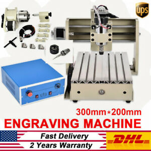 300w 4 Axis Cnc 3020 Router Engraver Pcb Wood 3d Mini Carving Engraving Machine